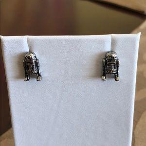 """Star Wars R2D2 silver Stud Earrings.  1/2"""""""